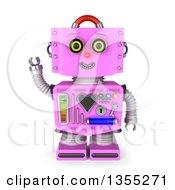 3d Friendly Retro Pink Female Robot Waving