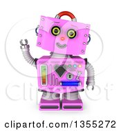 Clipart Of A 3d Friendly Retro Pink Female Robot Tilting Her Head And Waving Royalty Free Illustration by stockillustrations