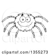 Outline Clipart Of A Cartoon Black And White Happy Spider Royalty Free Lineart Vector Illustration by Hit Toon