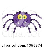 Clipart Of A Cartoon Happy Purple Spider Royalty Free Vector Illustration by Hit Toon