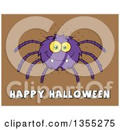 Clipart Of A Cartoon Purple Spider Over Happy Halloween Text On Brown Halftone Royalty Free Vector Illustration by Hit Toon