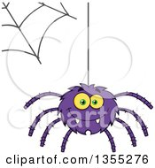 Clipart Of A Cartoon Happy Purple Spider And Web Royalty Free Vector Illustration