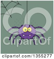 Clipart Of A Cartoon Happy Purple Spider And Web Over Green And Halftone Royalty Free Vector Illustration by Hit Toon