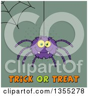 Clipart Of A Cartoon Purple Spider And Web Over Trick Or Treat Text On Green Halftone Royalty Free Vector Illustration by Hit Toon