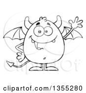 Outline Clipart Of A Cartoon Black And White Winged Devil Waving Royalty Free Lineart Vector Illustration by Hit Toon