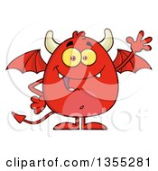 Clipart Of A Cartoon Winged Devil Waving Royalty Free Vector Illustration