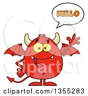 Clipart Of A Cartoon Winged Devil Saying Hello And Waving Royalty Free Vector Illustration by Hit Toon