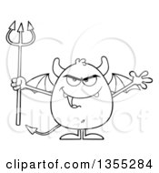 Outline Clipart Of A Cartoon Black And White Winged Devil Welcoming And Holding A Trident Royalty Free Lineart Vector Illustration by Hit Toon