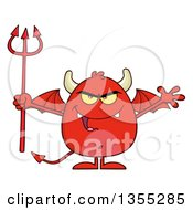 Clipart Of A Cartoon Winged Devil Welcoming And Holding A Trident Royalty Free Vector Illustration