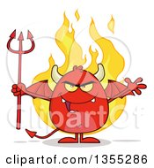 Clipart Of A Cartoon Winged Devil Welcoming And Holding A Trident Over Flames Royalty Free Vector Illustration