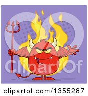 Cartoon Winged Devil Welcoming And Holding A Trident Over Flames And Purple Halftone