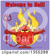 Clipart Of A Cartoon Winged Devil Welcoming And Holding A Trident Over Flames And Purple Halftone With Welcome To Hell Text Royalty Free Vector Illustration by Hit Toon