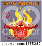 Clipart Of A Cartoon Winged Devil Welcoming And Holding A Trident Over Flames And Purple Halftone With Happy Halloween Text Royalty Free Vector Illustration by Hit Toon
