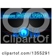 Happy New Year 2016 Greeting In Blue Neon With A Power Button Over Perforated Metal