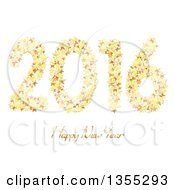 3d Shiny Gold Happy New Year 2016 Background With Stars On White