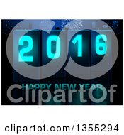 Clipart Of A Happy New Year 2016 Greeting Over A City With Fireworks And A Reflection Royalty Free Vector Illustration