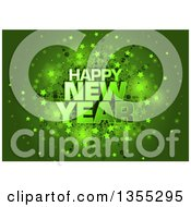 Clipart Of A Happy New Year Greeting Over A Green Star Burst Royalty Free Vector Illustration by dero