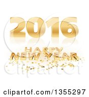 Clipart Of A 3d Shiny Gold Happy New Year 2016 Background With Stars On Reflective White Royalty Free Vector Illustration by dero