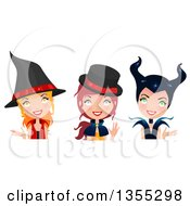 Clipart Of Three Happy Witches Royalty Free Vector Illustration