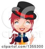 Clipart Of A Friendly Red Haired Witch Waving Royalty Free Vector Illustration