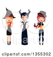 Clipart Of Three Full Length Witches Royalty Free Vector Illustration