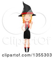 Clipart Of A Full Length Red Haired Witch Waving Royalty Free Vector Illustration by Melisende Vector