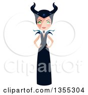 Clipart Of A Full Length Maleficent Witch Standing With Hands On Her Hips Royalty Free Vector Illustration