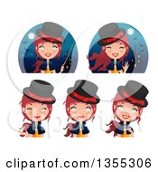 Clipart Of Friendly Red Haired Witches And Haunted Castles Royalty Free Vector Illustration