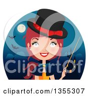 Friendly Red Haired Witch Holding A Wand Over A Haunted Castle Full Moon And Bats