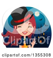 Friendly Red Haired Witch Waving Over A Haunted Castle Full Moon And Bats