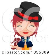 Clipart Of A Friendly Red Haired Witch Presenting Royalty Free Vector Illustration