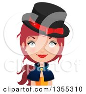Clipart Of A Friendly Red Haired Witch Royalty Free Vector Illustration