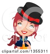 Clipart Of A Smiling Red Haired Witch Royalty Free Vector Illustration