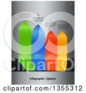 Clipart Of 3d Vertical Colorful Infographic Arrow Tabs With Sample Text Over Perforated And Brushed Metal Royalty Free Vector Illustration by elaineitalia