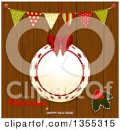Clipart Of A Suspended Christmas Bauble Frame With Holly Bunting Banner And Merry Christmas And Happy New Year Text Over Wood Royalty Free Vector Illustration