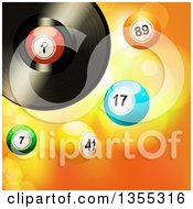 Clipart Of A 3d Vinyl Record Music Album With 3d Bingo Or Lottery Balls Over Flares Royalty Free Vector Illustration