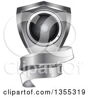Clipart Of A 3d Music Speaker In A Silver Shield With A Blank Ribbon Banner Royalty Free Vector Illustration by elaineitalia