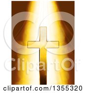 Clipart Of Heavenly Light Shining Down On A Mystic Gold Cross Over Flares Royalty Free Vector Illustration by elaineitalia
