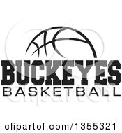 Clipart Of A Black And White Ball With BUCKEYES BASKETBALL Text Royalty Free Vector Illustration