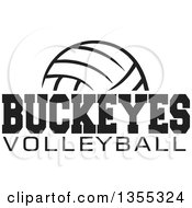 Clipart Of A Black And White Ball With BUCKEYES VOLLEYBALL Text Royalty Free Vector Illustration