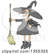 Cartoon Chubby Warty Halloween Witch Holding A Broom And Cat