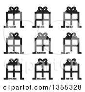 Black And White Gift Icons With Present For Him For Her Christmas Birthday Gift Love You Miss You And For You Text