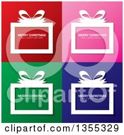 Clipart Of White Gift Boxes With Merry Christmas And A Happy New Year Greetings Over Red Pink Green And Blue Backgrounds Royalty Free Vector Illustration by michaeltravers