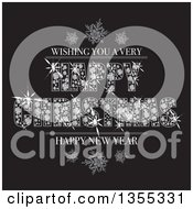 Clipart Of A Bling Wishing You A Very Happy Christmas And Happy New Year Greeting Made Of Diamonds With Snowflakes On Black Royalty Free Vector Illustration by michaeltravers