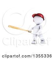 Poster, Art Print Of 3d White Man Baseball Player Batting On A White Background