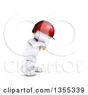 Clipart Of A 3d White Man Baseball Player Batting On A White Background Royalty Free Illustration