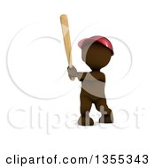 Poster, Art Print Of 3d Brown Man Baseball Player Batting On A White Background