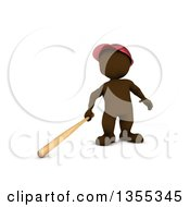 Clipart Of A 3d Brown Man Baseball Player Batting On A White Background Royalty Free Illustration by KJ Pargeter