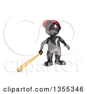 Clipart Of A 3d Reflective Black Man Baseball Player Batting On A White Background Royalty Free Illustration by KJ Pargeter