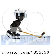 Clipart Of A 3d Reflective Black Man Ice Hockey Player On A White Background Royalty Free Illustration